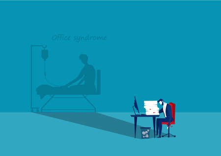 Vector - Tired businessman at office with shadow office syndrome health concept Archivio Fotografico - 137088475