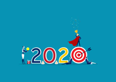 2020 Happy New Year business. Happy team celebrating nee year.illustrator Stock Illustratie