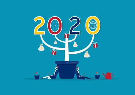 Happy new year 2020 big tree in pot vector concept,vector illustration. Archivio Fotografico - 137088031