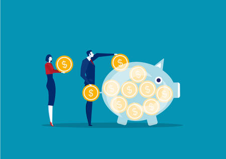 business people saving and accumulating money.vector illustrator.