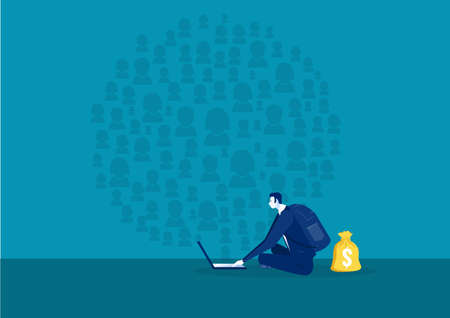 businessman searching on Social network, communication in the global ,vector Archivio Fotografico - 137088276