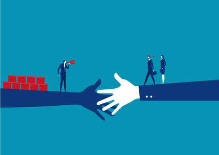 Geschäftshändedruck zwischen Investor mit Verkaufskonzept-Vektor. Zusammenarbeit von Geschäftsleuten. Illustration