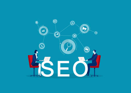 two business Seo optimization , marketing business technology, monitor with data analysis platform on screen,vector Archivio Fotografico - 137088280