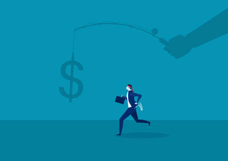 businessman running catch a dollar placed on a hook ,active income concept  illustration.
