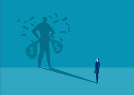 business man looking ้his shadow rich under money rain success concept vector. Archivio Fotografico - 137145629