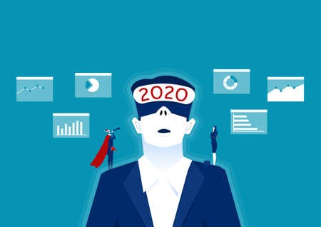 2020 businessman wearing virtual reality in modern coworking studio,vision plan business for future concept illustrator.