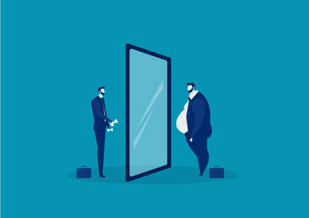 businessman looking at the mirror standing with fat belly. compare body thin vector