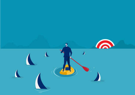businessman paddle boarding in the suit with island surrounded by sharks.  , stand up paddle forward to success concept vector
