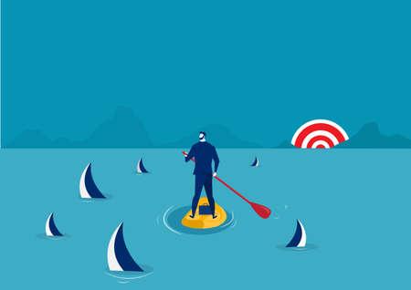 uomo d'affari paddle boarding nella tuta con isola circondata da squali. , stand up paddle in avanti verso il vettore del concetto di successo Vettoriali