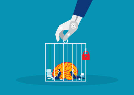 business with big brain hard working in cagevector vector illustration. Stock Illustratie
