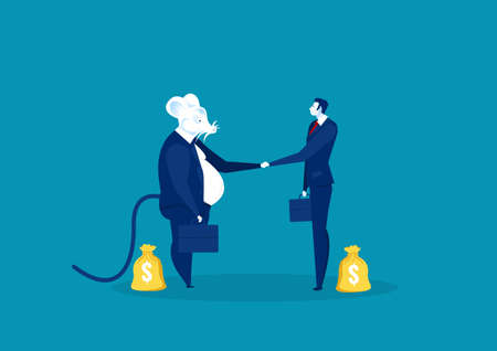 rat shake hand with business people for invest vector illustrator. Stock Illustratie