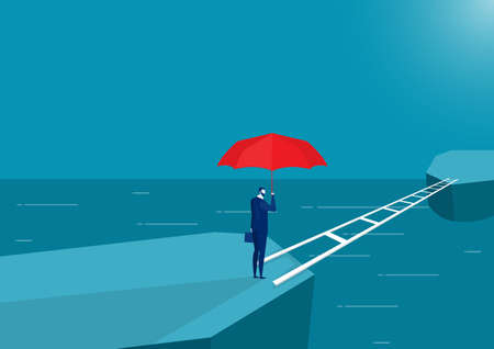 business man holding red umbrella standing thinking crossing bridge forward to new land vector