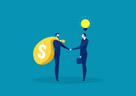 Two business shake hand for trading between idea and capital vector.
