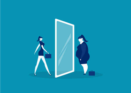 businesswoman looking at the mirror standing with fat belly. compare body thin vector 向量圖像