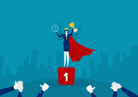 business woman character holding trophy promote to position and get reward standing on podium and celebrate.illustrator