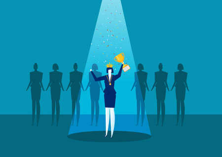 businesswoman is standing on a winners pedestal with a golden cup , success woman day