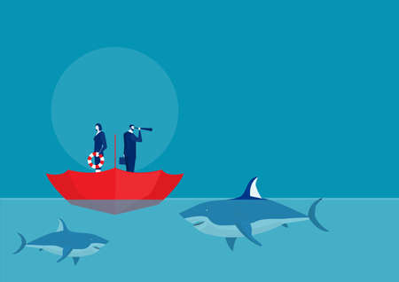 Businessman standing In The Up Side Down Open Umbrella with  team surrounded by sharks.