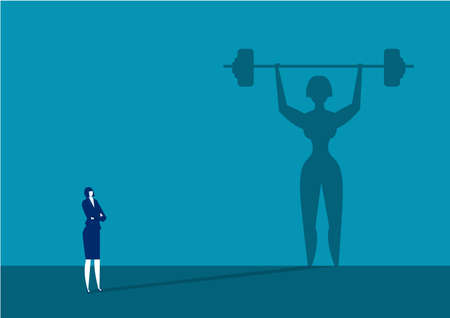 businesswoman looking big shadow Sporty woman with barbell. Powerlifting exercises concept.