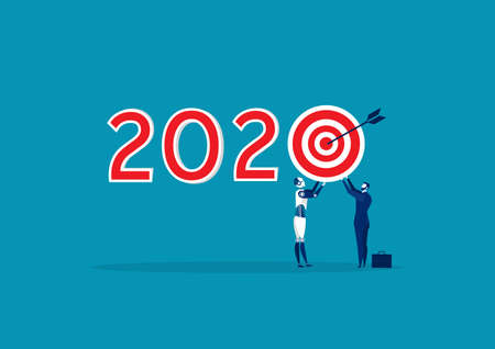 business holding target 2020 New Year symbol design. on blue background.