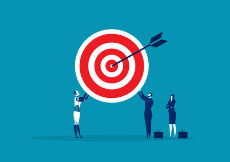 Team Business holding with big target. vector illustration 向量圖像