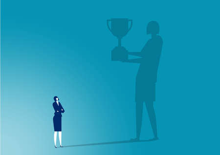businesswoman imaging toward award to sucess work vector. Illustration
