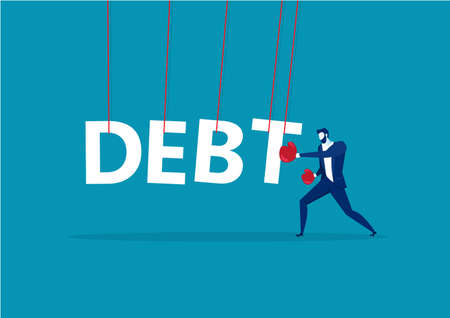 Businesswoman punching the big debt. vector