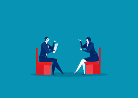 Business people interview and conversation concept vector