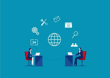 business Operator Client Communication, Specialists Solve Clients Problems Online 24 HR vector Ilustrace