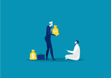 Geschäftsmann spendet Zakat an das Konzept des armen Mannes