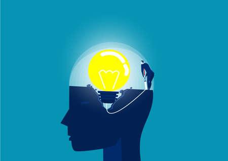 A businessman is pumping a light bulb on big head human vector illustrator.
