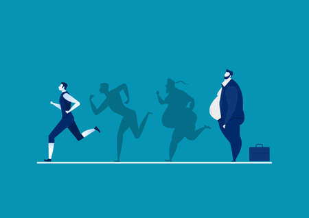man fat turning into silhouette Thin for health on blue background graphic Illusztráció
