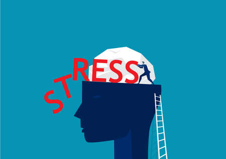 businessman pushing stress word on big head human thinking concept vector illustration Vettoriali