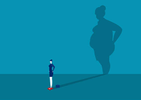 business woman slim with Big shadow fat body , healthy concept Illustration