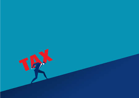 Businessman carrying big tax concept.vector Ilustracja