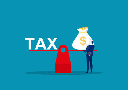 businessman holding big bag money for scale pay tax vector illustrator
