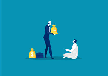 businessman donation zakat to poor man concept   Illustration