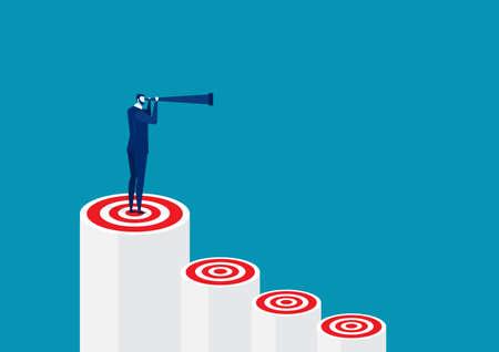 One Business Man standing holding binoculars on red bar target. leadership vector Ilustración de vector