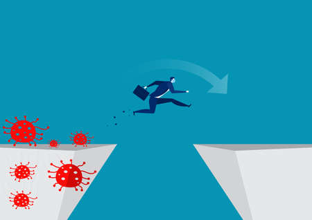 Businessmen jump over to escape coronary disease. coronavirus vector illustrator. Illusztráció