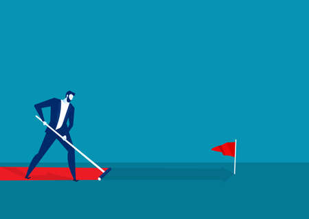 businessman paint his own path to success on blue background.