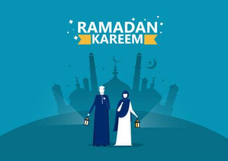 people wellcom  ramadan kareem vector illustrator.