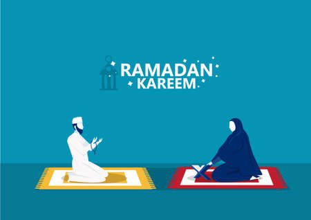 Ramadan Kareem, man  prays and reading al quran illustrator