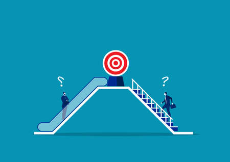 Two businessmen use different way by escalator and stair. to success concept vector Ilustrace