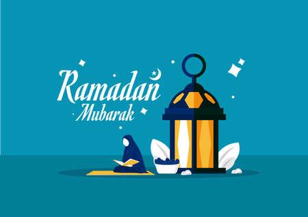 Muslim woman  doing reading al quran ,  Ramadan holy month, vector illustration Ilustrace