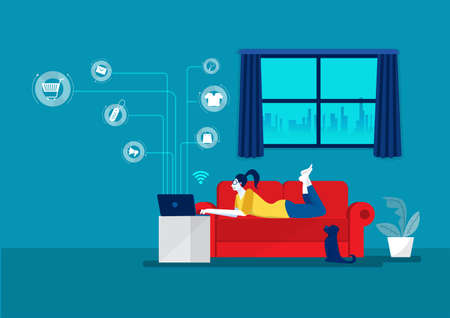 young woman working on laptop lying on sofa at home E-Business in Covid19 Pandemic Condition. Shopping Online, illustrator vector.