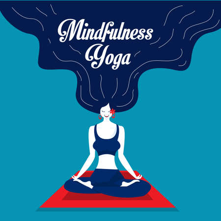 lady happy meditation and yoga with stress and anxiety illustrator.