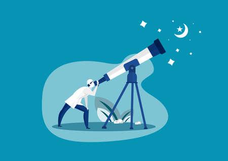 Muslim man looking sky with telescope to predict when ramadhan begin illustrator Ilustrace