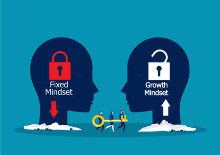 Team businessman carry big key move to growth mindset for press unlock concept vector concept vector