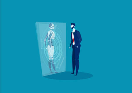 businessman look on glass robot Innovation Technology future concept vector.
