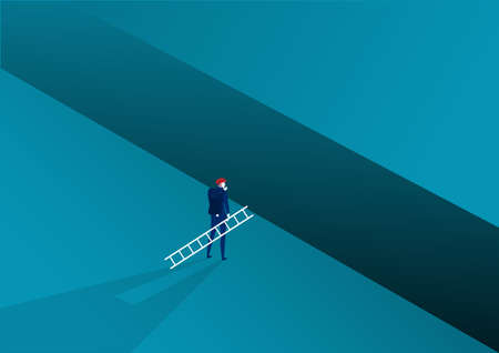 Businessman looking carry ladder cross to goal success with challenge. illustration Vector Ilustrace