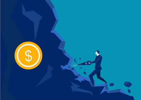 illustrator Businessman digging tool in the rock with coin vector . Ilustrace